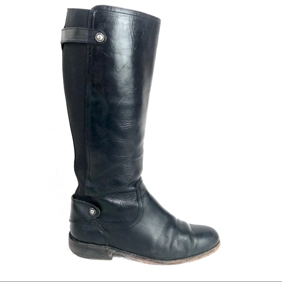 Frye Shoes - FRYE Black Tall Knee Height Low Heel Worn Boots